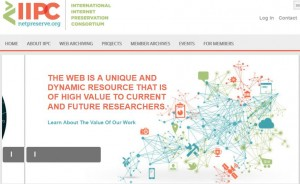 Page d'accueil du site de l'IIPC www.netpreserve.org